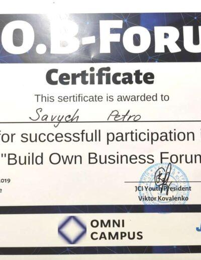 Сертификат B.O.B. Forum